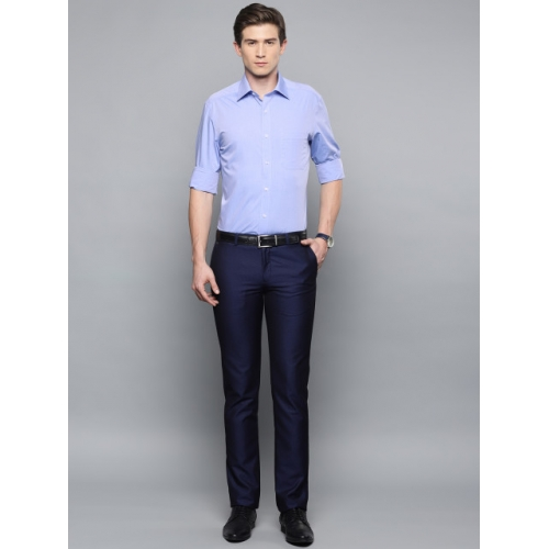 Louis Philippe Blue Cotton Regular Fit Solid Formal Shirt