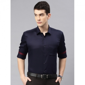 Peter England Navy Blue Nuvo Fit Solid Formal Shirt