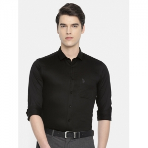 U.S. Polo Assn Black Cotton Slim Fit Solid Formal Shirt