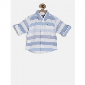 Gini and Jony Boys Blue & White Regular Fit Striped Casual Shirt