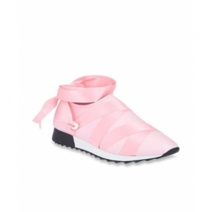 Truffle Collection Pastel Pink Synthetic Slip-on Sneakers