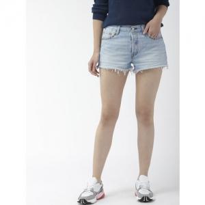Levis Women Blue Washed 501 Regular Fit Embellished Denim Shorts