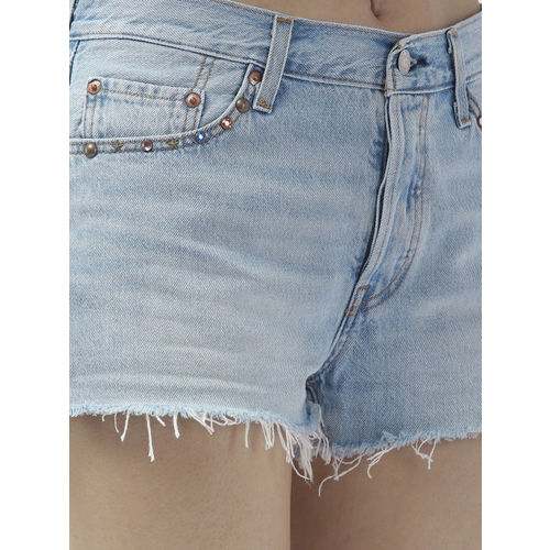 Levis Women Blue Washed 501 Regular Fit Embellished Denim Shorts