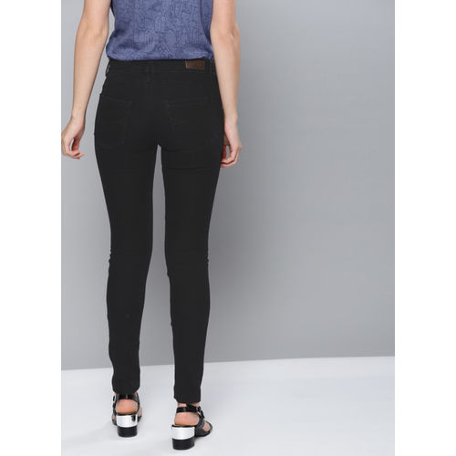 NUSH Black Regular Fit High-Rise Mildly Distressed Jeans
