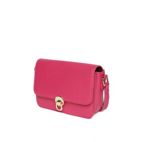 DressBerry Fuchsia Polyurethane Solid Sling Bag