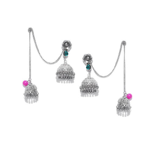 Anouk Oxidised Silver-Plated Dome Shaped Jhumkas