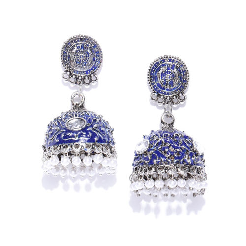 Anouk Blue & Off-White Oxidised Silver-Plated Enamelled Dome Shaped Jhumkas