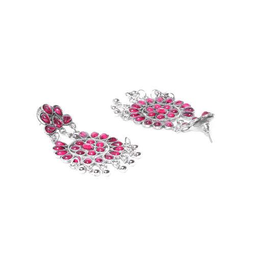 Anouk Pink Oxidised Silver-Plated Stone-Studded Crescent-Shaped Chandbalis
