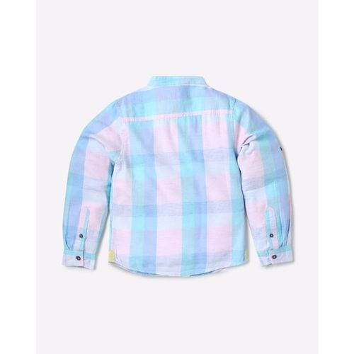 UNITED COLORS OF BENETTON Checked Cotton Shirt with Mandarin Collar