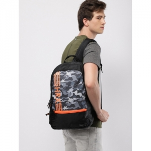 HRX by Hrithik Roshan Unisex Black & Grey Assault Graphic Laptop Backpack
