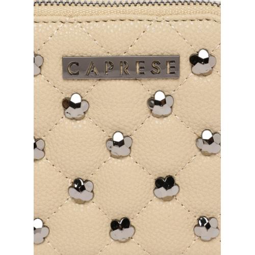 Caprese Beige Embellished Zip Around Wallet