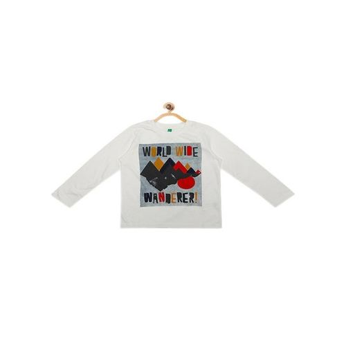 United Colors of Benetton Kids Off White Printed T-Shirt