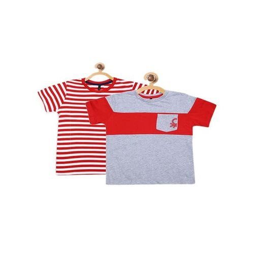 United Colors of Benetton Kids Red & Grey Striped T-Shirt (Pack Of 2)