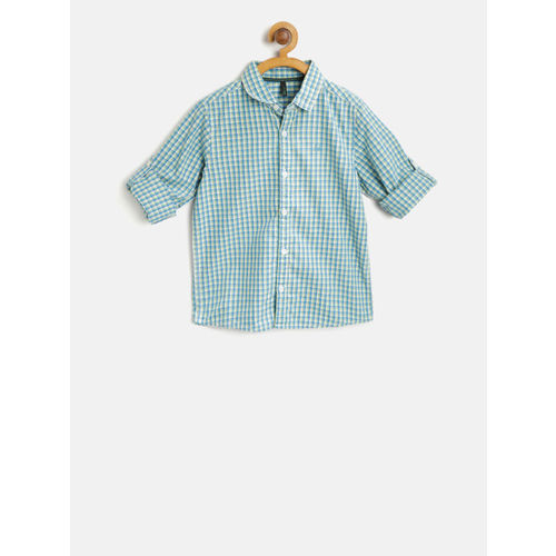 United Colors of Benetton Boys Green & Blue Regular Fit Checked Casual Shirt