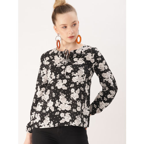 DressBerry Women Black & White Printed Top
