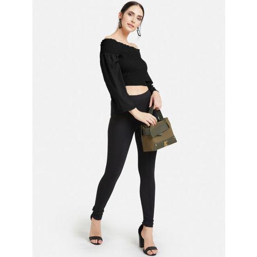 Kazo Women Black Solid Bardot Crop Top