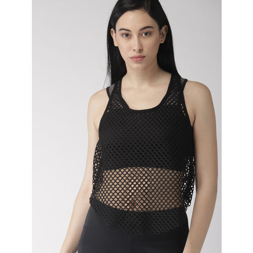 FOREVER 21 Women Black Self Design Tank Top