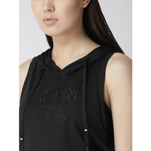 Fitkin Women Black Embroidered Detail Hooded Top