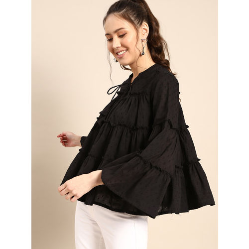 AKS Couture Women Black Self Design Tiered Top