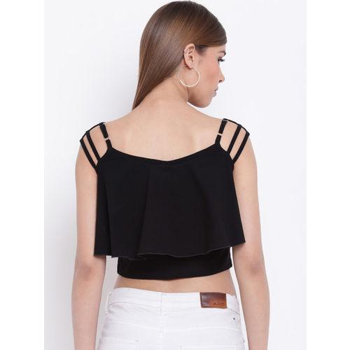 Texco Women Black Solid Crop Top