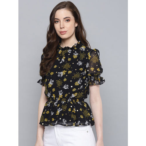 Chemistry Women Black & Yellow Printed Cinched Waist Top