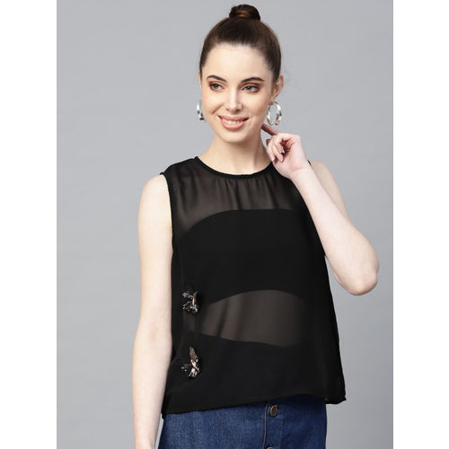 I AM FOR YOU Women Black Solid Sheer A-Line Top