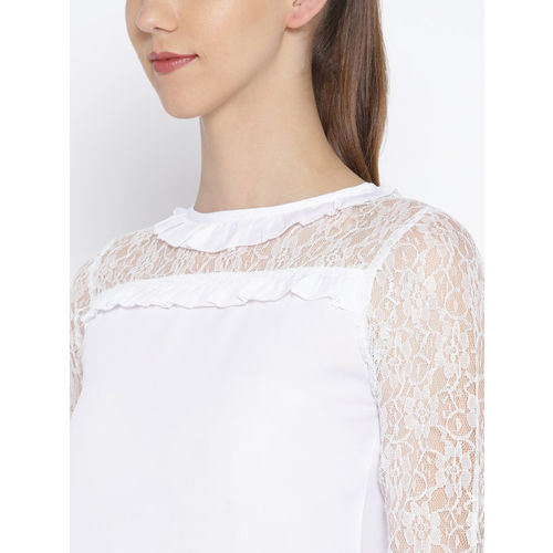 Karmic Vision Women White Lace Detail Top