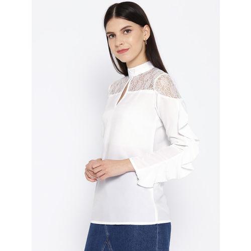 Karmic Vision Women White Solid Semi-Sheer Top