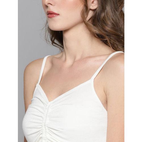 Veni Vidi Vici Women White Solid Fitted Crop Top