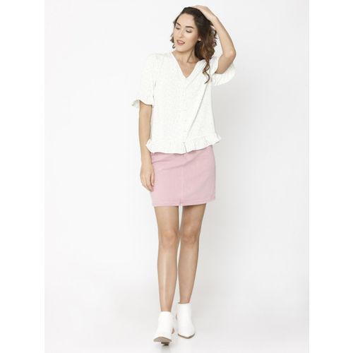 Vero Moda Women White & Black Printed Shirt Style Top