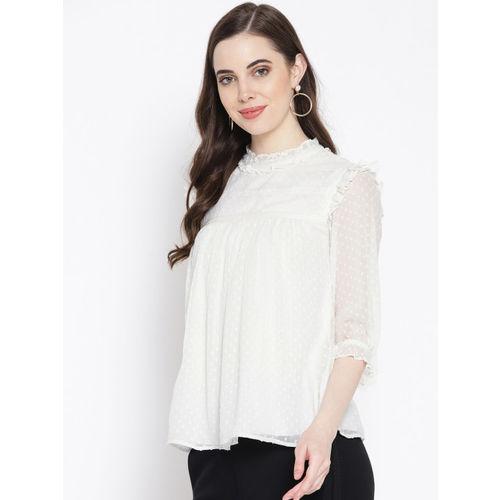 Antheaa Women White Self Design Top