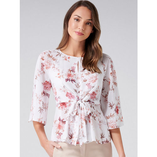 Forever New Women White & Pink Printed Cinched Waist Top