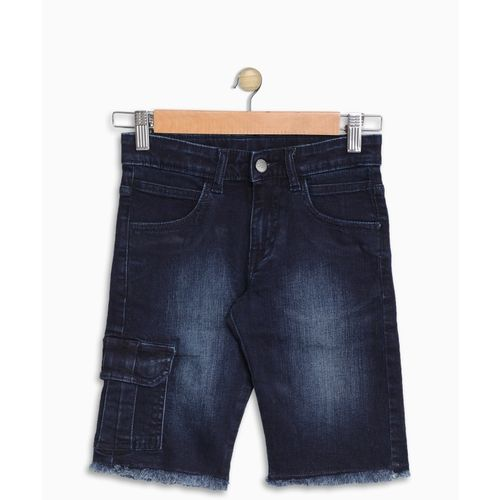 United Colors of Benetton Short For Boys Casual Solid Cotton Blend(Blue, Pack of 1)