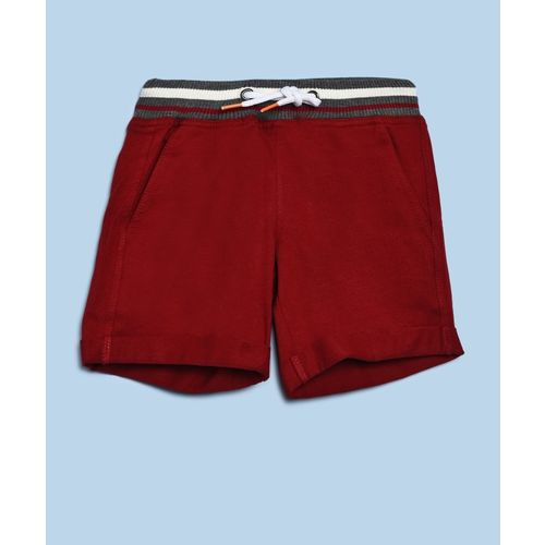 United Colors of Benetton Short For Boys Casual Solid Cotton Blend(Maroon, Pack of 1)
