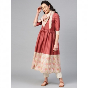 La Firangi Women Rust Brown & Pink Solid A-Line Kurta with Printed Detail