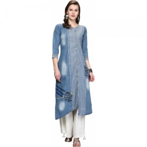 Pisara Festive & Party Textured Women Kurti(Blue)