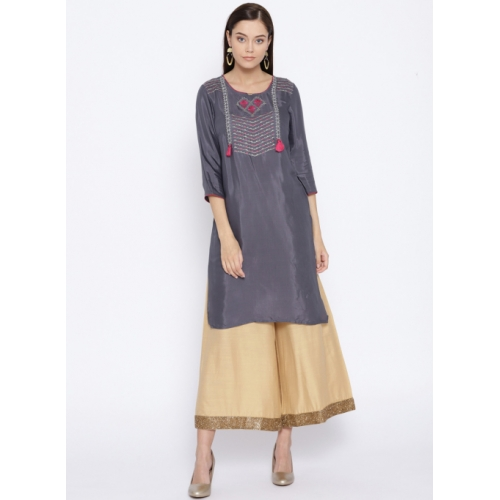 AURELIA Charcoal Grey Yoke Design Straight Kurta
