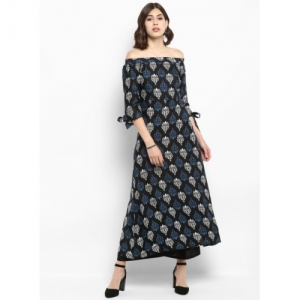 MBE Black Printed A-Line Off Shoulder Casual Kurta