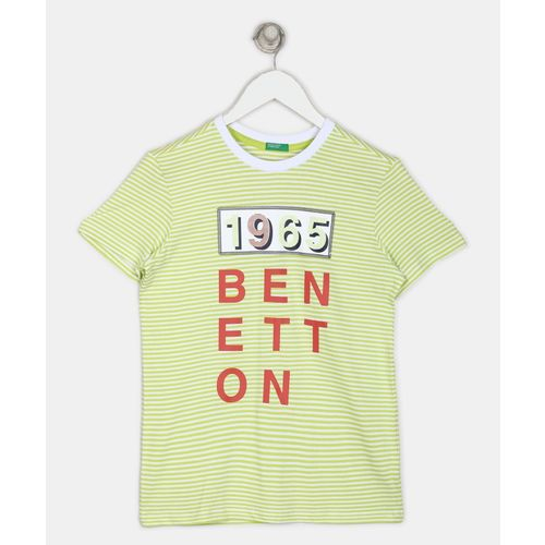 United Colors of Benetton Boys Printed Pure Cotton T Shirt(Light Green, Pack of 1)