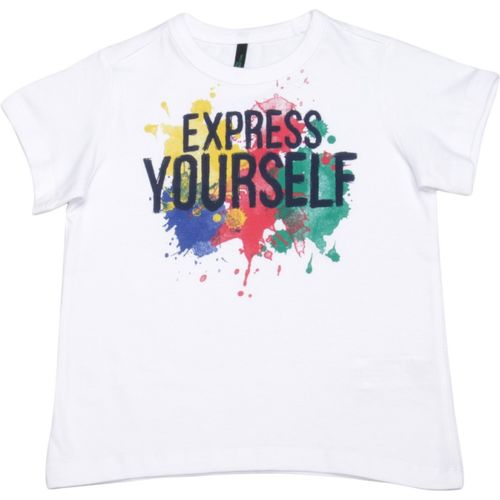 United Colors of Benetton Boys Solid Cotton Blend T Shirt(White, Pack of 1)