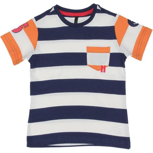 United Colors of Benetton Boys Striped Cotton Blend T Shirt(Dark Blue, Pack of 1)