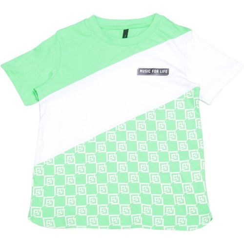 United Colors of Benetton Boys Printed Cotton Blend T Shirt(Light Green, Pack of 1)