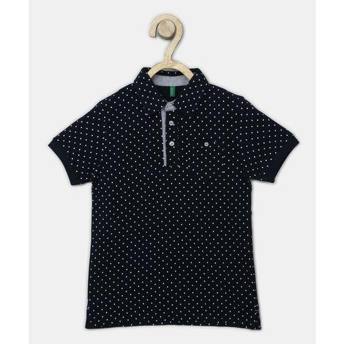 United Colors of Benetton Boys Polka Print Cotton Blend T Shirt(Dark Blue, Pack of 1)