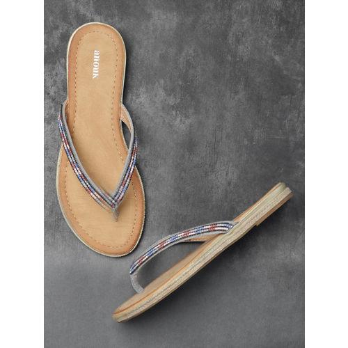 Anouk Women Multicoloured Solid Open Toe Embellished Flats