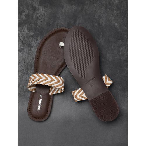 Anouk Women White & Beige One Toe Flats