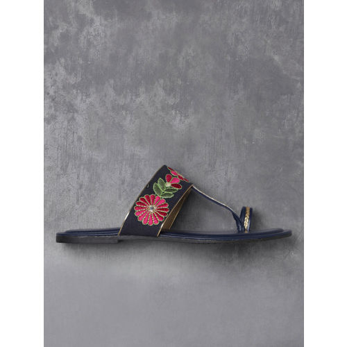 Anouk Women Navy Blue Embroidered One Toe Flats