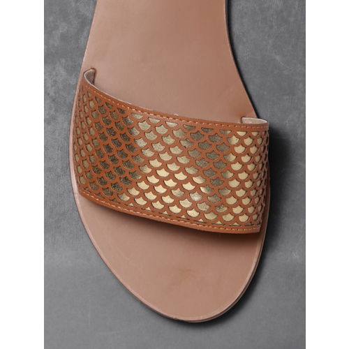 Anouk Women Brown Woven Design Synthetic Open Toe Flats