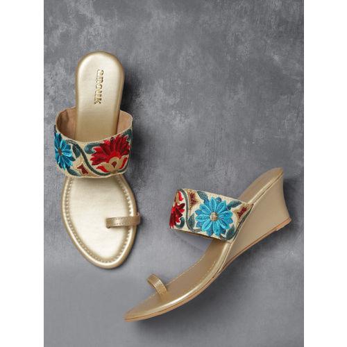 Anouk Women Beige Woven Design One Toe Heels