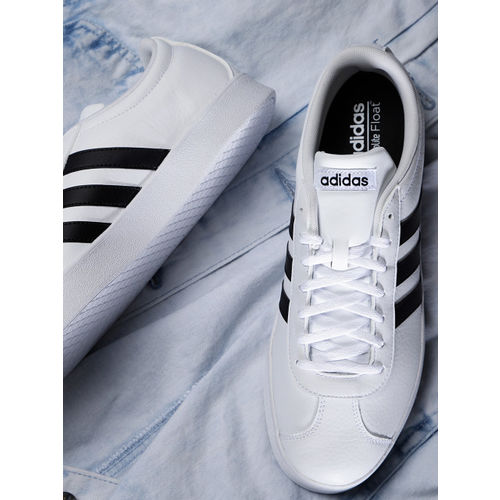 ADIDAS Originals Men White VL Court 2.0 Leather Skateboarding Shoes