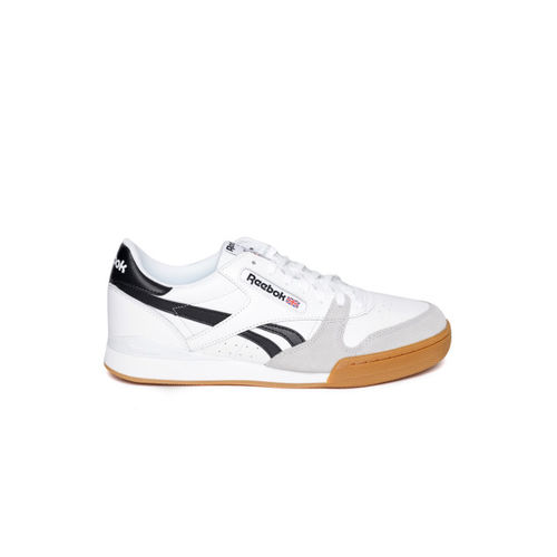 Reebok Classic Men White & Grey Leather Phase 1 Pro MU Colourblocked Sneakers